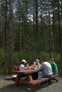 Tables are available for picnics in the picnic area near the parkinglot